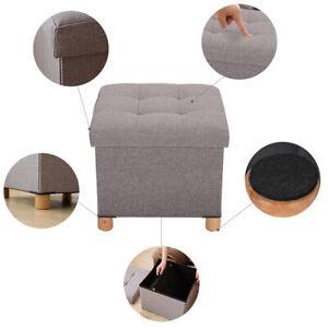 Siège de repose-pieds carré tabouret de repose-pieds rangement pliant gris foncé