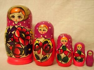 Russian Genuine Wooden Doll/Matrioshka  Hand Made Hand Painted