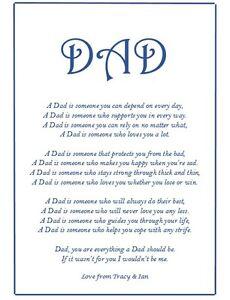 Detalles De Conjunto De Regalo Personalizado Padres Día Cumpleaños Para Papá Etc Poema A4 Impresión Bolsa Tarjeta Ver Título Original