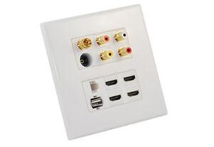 Custom-AV-Wall-Plate-4-HDMI-4-RCA-USB-RJ45-Toslink-Antenna-PAL