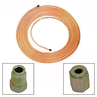 """3/16"""" 25 Foot Copper Brake Pipe with 20 Metric Union nuts"""