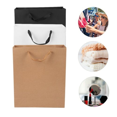 Kraft Paper Carrier Present Gift Bag Handle Shopping Food Package Bag Pure Color