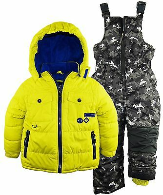 Rugged Bear Little Boys' Solid Puffer Jacket Snowsuit Camo Ski Bib Pant Set