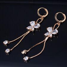 18k Gold Filled Womens White Topaz Crystal Dangle Butterfly Earrings Jewelry