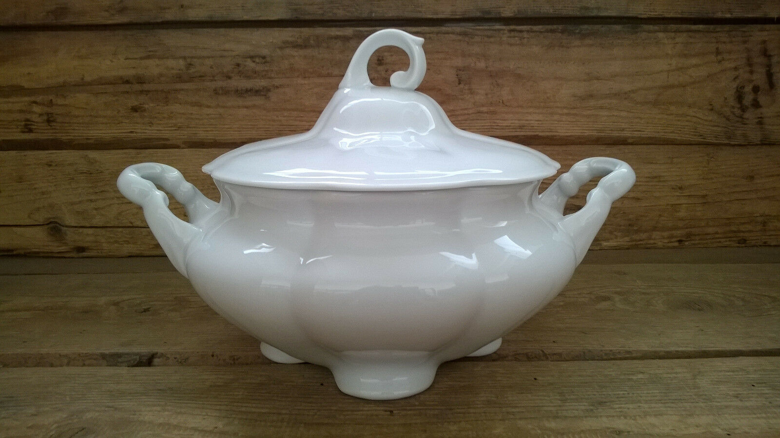 Terrine Suppenterrine Suppenschüssel Porzellan weiß mit Deckel - 2,8 l