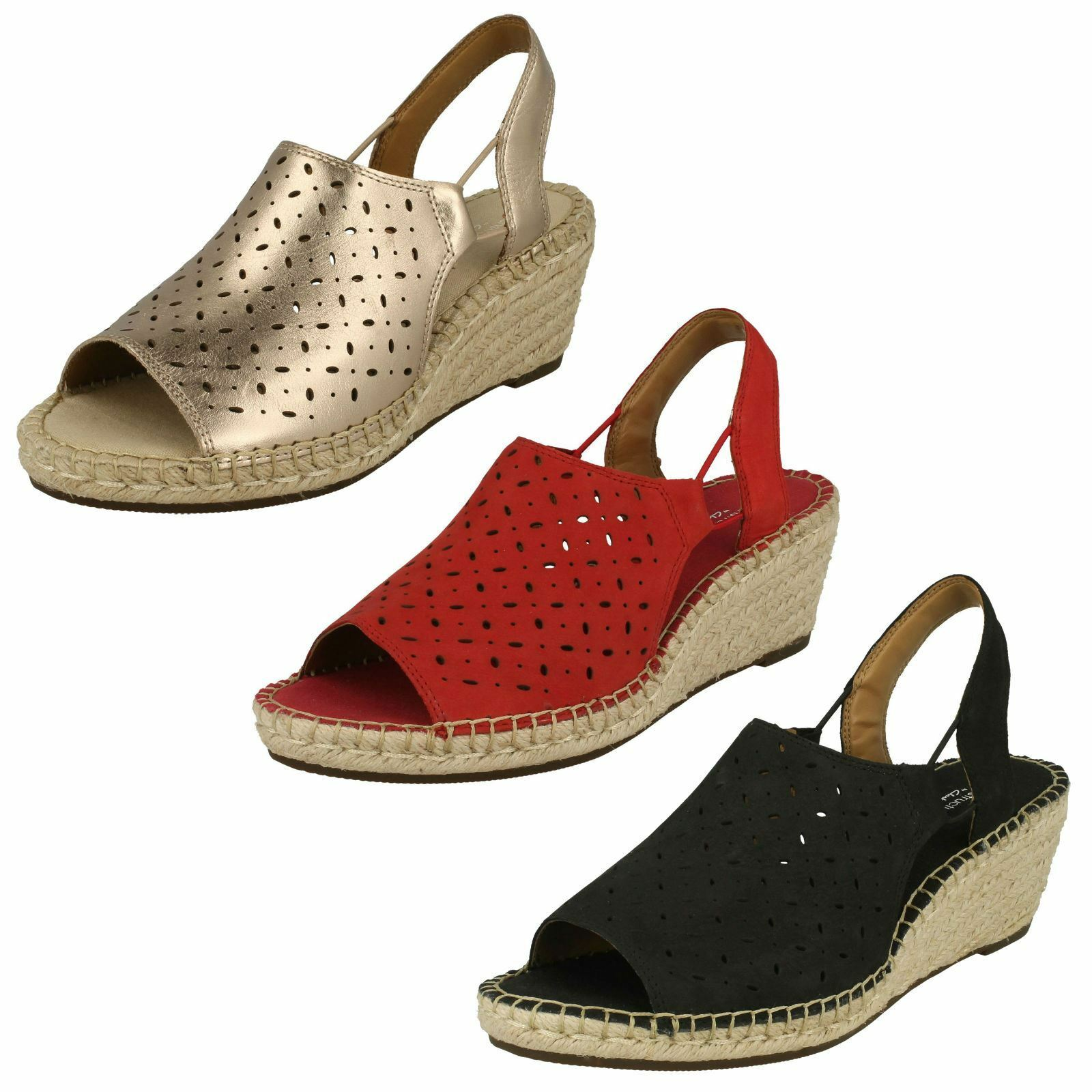 Último gran descuento Ladies Clarks Leather Nubuck Slingback Wedge Heel Sandals - Petrina Gail