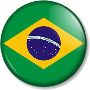 brazil flag 25mm 1 pin button badge brazilian brasil national of