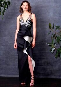 fda9d157f78  1095 NEW MARCHESA NOTTE Mikado Column Gown Black Sequins Lace 0 6 8 ...