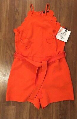 NWT Victoria Beckham for Target Orange Scallop Tie Waist Romper XS