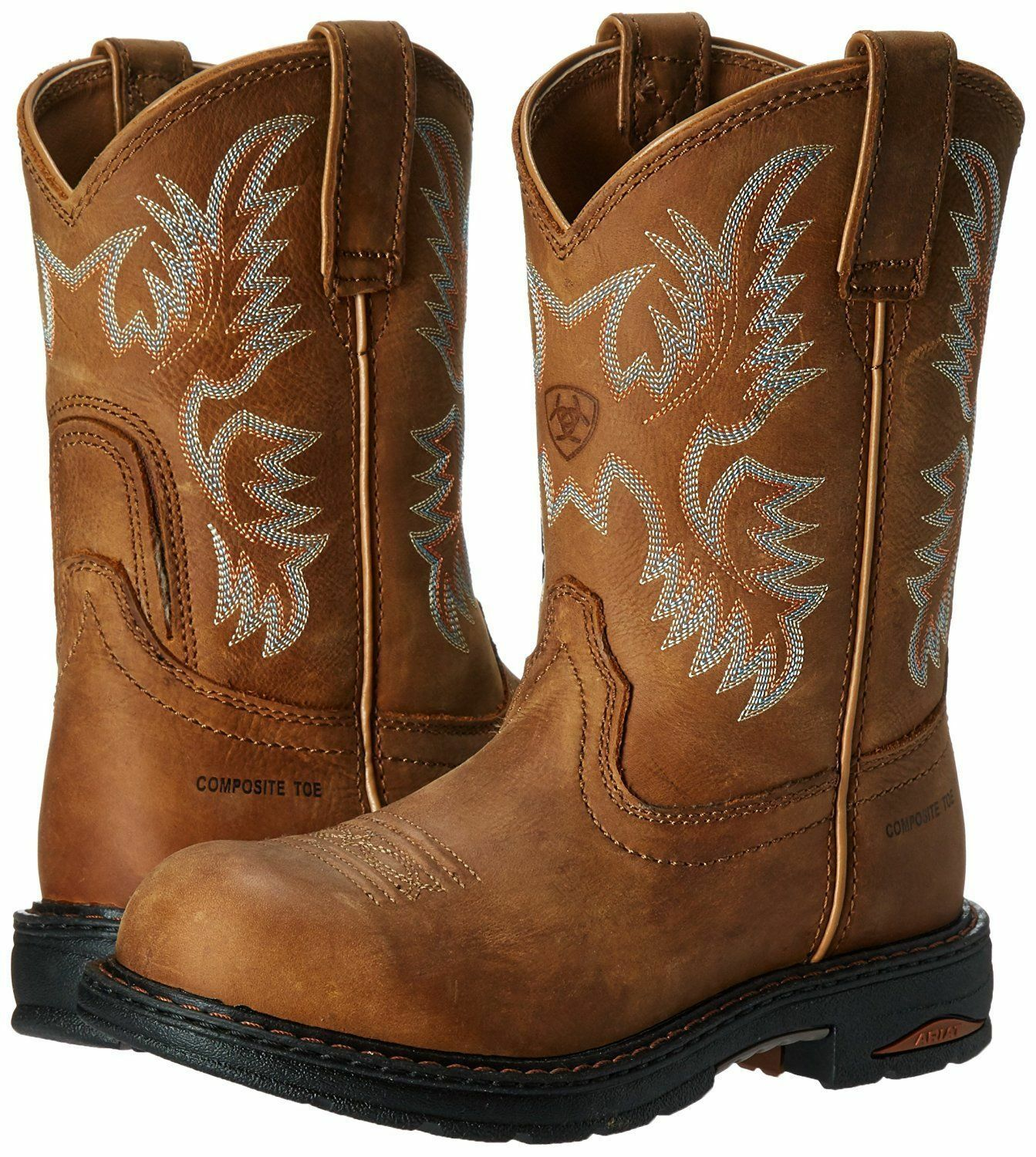 ARIAT WOMEN'S BROWN TRACEY PULL-ON COMPOSITE SAFETY TOE WORK BOOTS 10008634