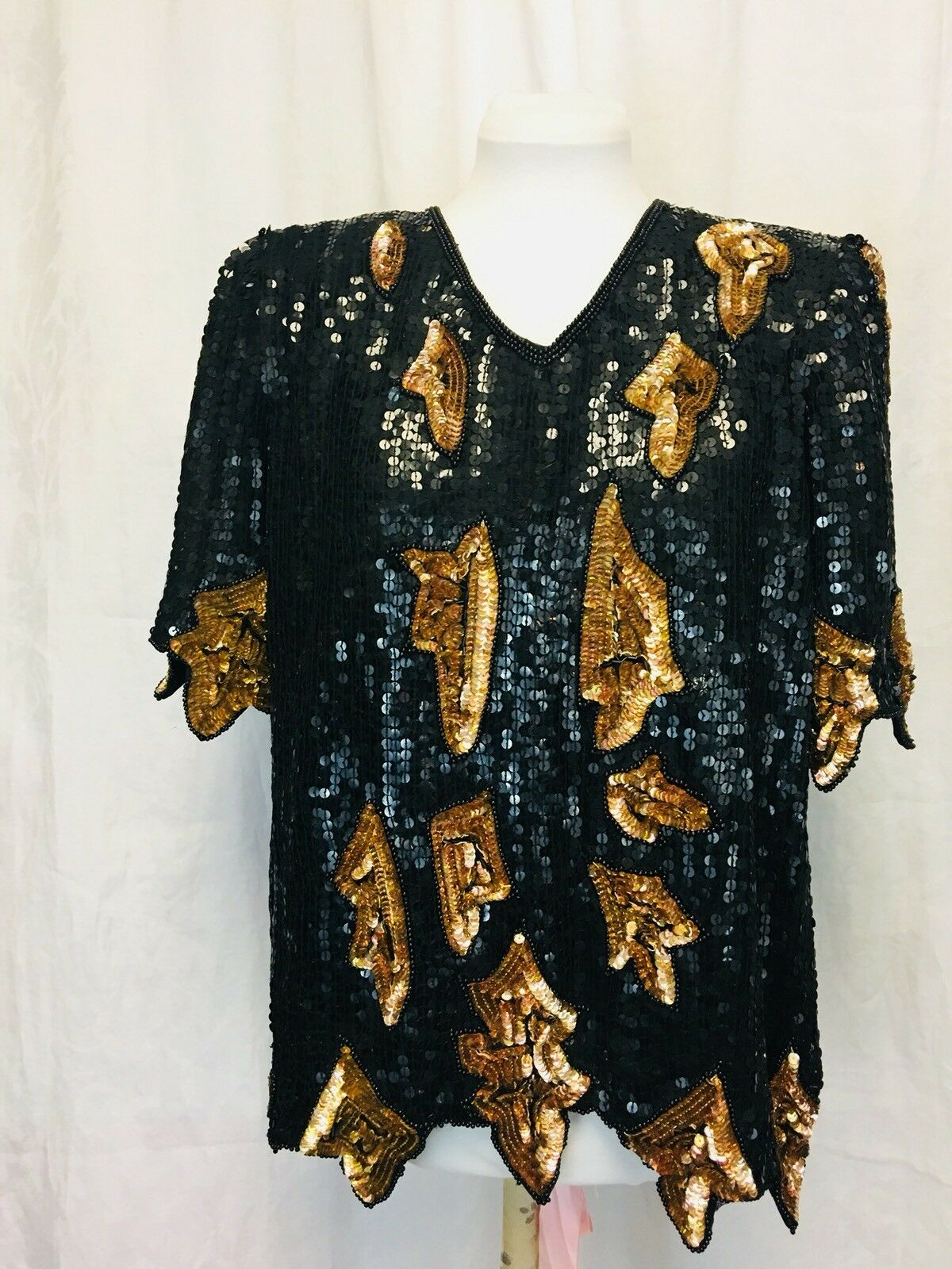 Vintage 1980's Sequinned Disco Top Silk damen's Mint Large schwarz and Gold