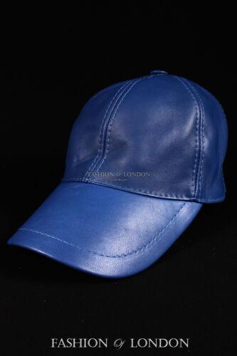 Royal Blue BASEBALL CAP Real Soft Lambskin 100/% Leather Hip-Hop Men/'s Ladies