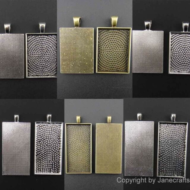 20x Charm Pendants Antique Style Silver Cameo Cabochon Setting Base Rectangular