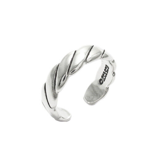 925 Sterling Silver Wide Rope Design Toe Ring