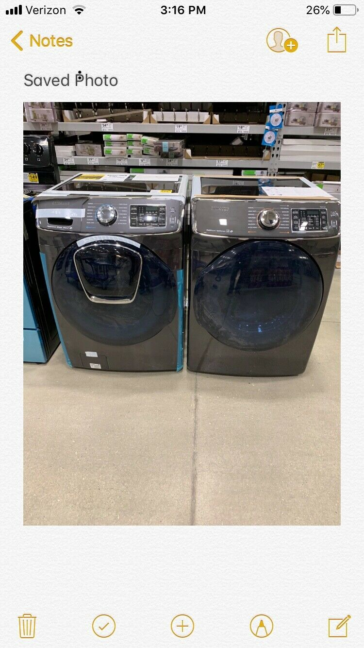samsung washer and gas dryer brand new with paperwork black dv 456500. Wf 456500