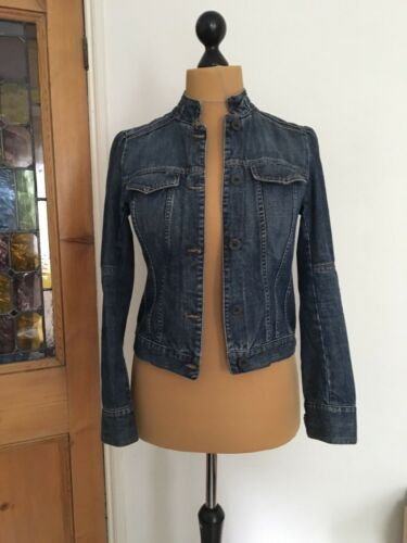 Madeleine Collarless Jacket Press Denim Uk10 f1rg5fqx