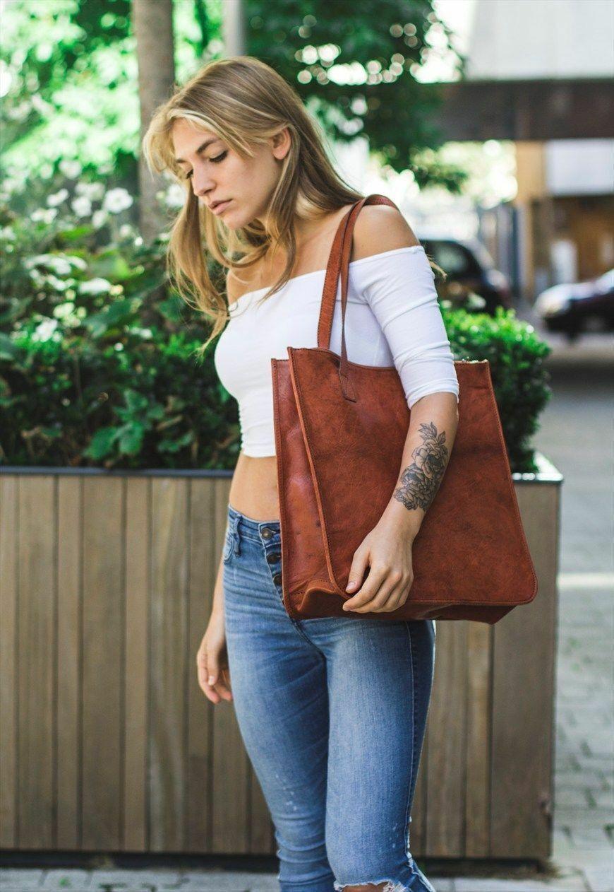 "Vintage Look Genuine Leather Tote Shoulder Bag Handmade Purse Women 14/""x14/"""