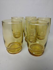 Vintage-Anchor-Hocking-Amber-Glass-Juice-Glasses-Set-of-6