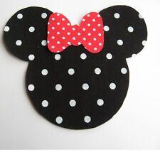Minnie Mouse Fabric Iron On Applique Black and white Polka Dot