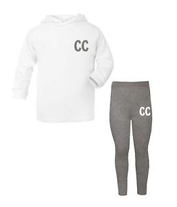 Personalised Initials Lounge Set Children/'s Top Leggings Custom Girls Boys White