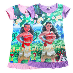 Kids Girls Moana Cartoon Casual Dress Skirt Pajamas Summer A Line Sundress Tops
