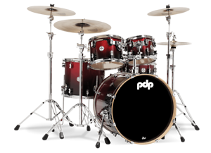 PDP-by-DW-Shellset-Concept-Maple-CM5-Red-to-Black-Sparkle-Schlagzeug-Drumset