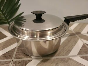 Thermo-Sentinel-Forma-Plex-T304-Stainless-Steel-Sauce-Pan-Pot-w-Lid-Vintage-USA