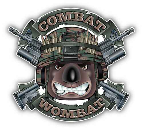Combat Wombat Military Dog Head Car Bumper Sticker Decal 3/'/' or 5/'/'
