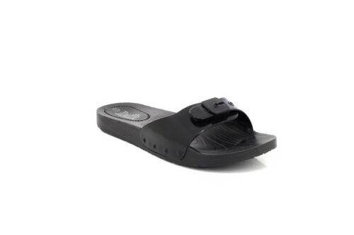 Truffle Ladies Slip On Buckle Rubber Waterproof Slipper Sliders Black