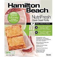 Hamilton Beach Nutrifresh Heat Seal Food Saver Vacuum Rolls Sealer, 7 Count
