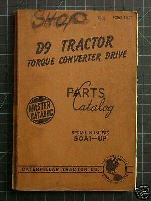CAT Caterpillar D9L Tractor Dozer Parts Manual Book Catalog crawler list spare