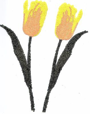 Sequin Patch: Set 2 Yellow Tulips