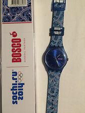 Swatch Special ' Bosco Blue ' New Gent SUON701E Sochi Olympic WinterGames 2014