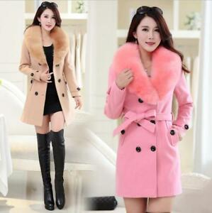 Warm Brystet Collar Coat Women's Tyndt Faux Dobbelt Chic Winter A Jacket Fur Belt wqCg6Za
