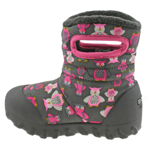 GIRLS BABY BOGS PUFF OWL DARK GREY PINK INSULATED WARM LINED WELLIES BOOTS 72014