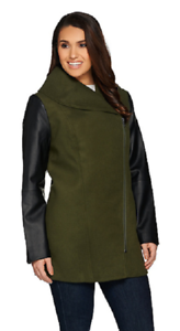 Lisa Rinna Collection Coat  with Faux Leather Sleeves, Olive, Size XS, MSRP
