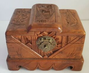 VINTAGE-CHINESE-DECO-STYLE-CAMPHOR-WOOD-JEWELLERY-BOX