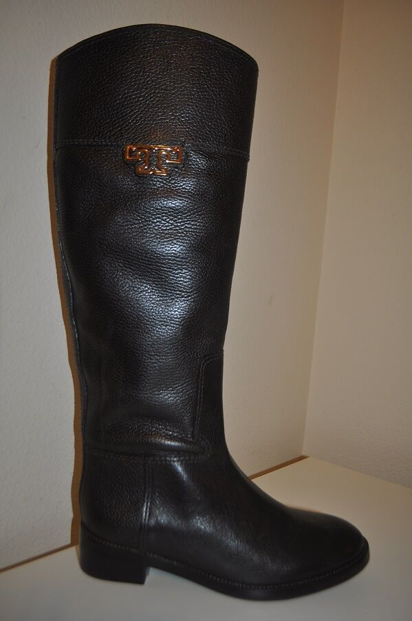 Tory Burch JOANNA Brown Leather Knee High Tall Riding Boot Sz 7 Boot Gold Logo