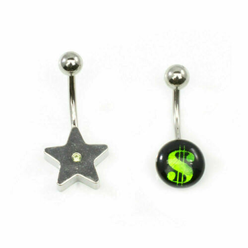 Dollar Sign and Star Belly Button 14g Ring Surgical Steel Set Of 2