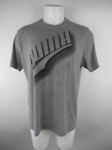 Puma-Men-039-s-sz-XL-Gray-Heathered-Crew-Neck-Short-Sleeve-Graphic-Tee-T-Shirt