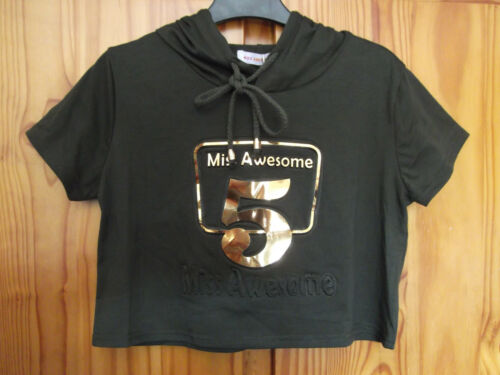 Miss Awesome Size 6 Cropped Hooded Top Dark Olive