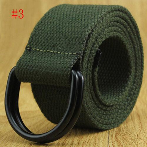 Women Men  Canvas Belt Metal D Ring Buckle Woven Military Army Tactical Combat