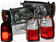 1996-1998 TOYOTA 4RUNNER BLACK STYLE HEADLIGHTS W/ CORNERS + LED TAIL LIGHTS RED