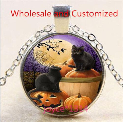 Halloween Black Cat Cabochon Tibetan silver Glass Chain Pendant Necklace #6328