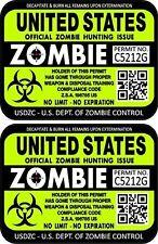 Prosticker 1200 Two 3x4 United States Zombie Hunting License Decals Sticker