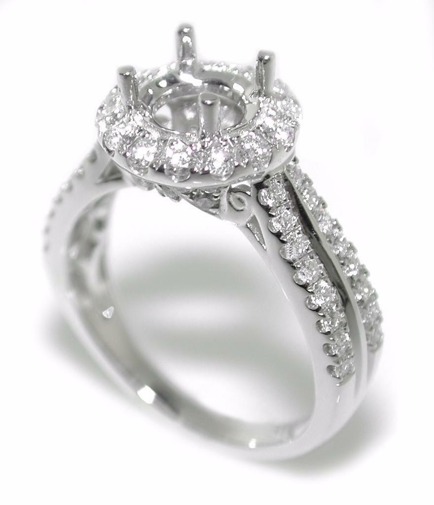 Beautiful 0.75 Ct Diamond Halo Semi Mount Setting Engagement Ring 14K gold