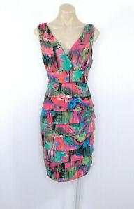 TEABERRY-Tiered-Pencil-Dress-Sleeveless-V-Neck-Pink-Green-Print-Sz-12