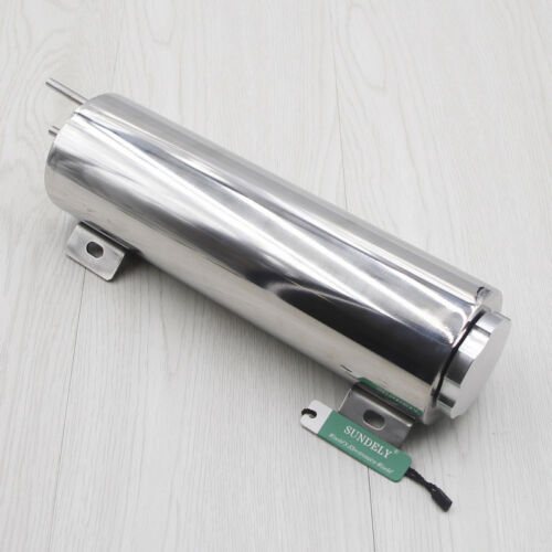 """3/"""" x 10/"""" Polished Stainless Steel Radiator Overflow Tank Universal Fit"""