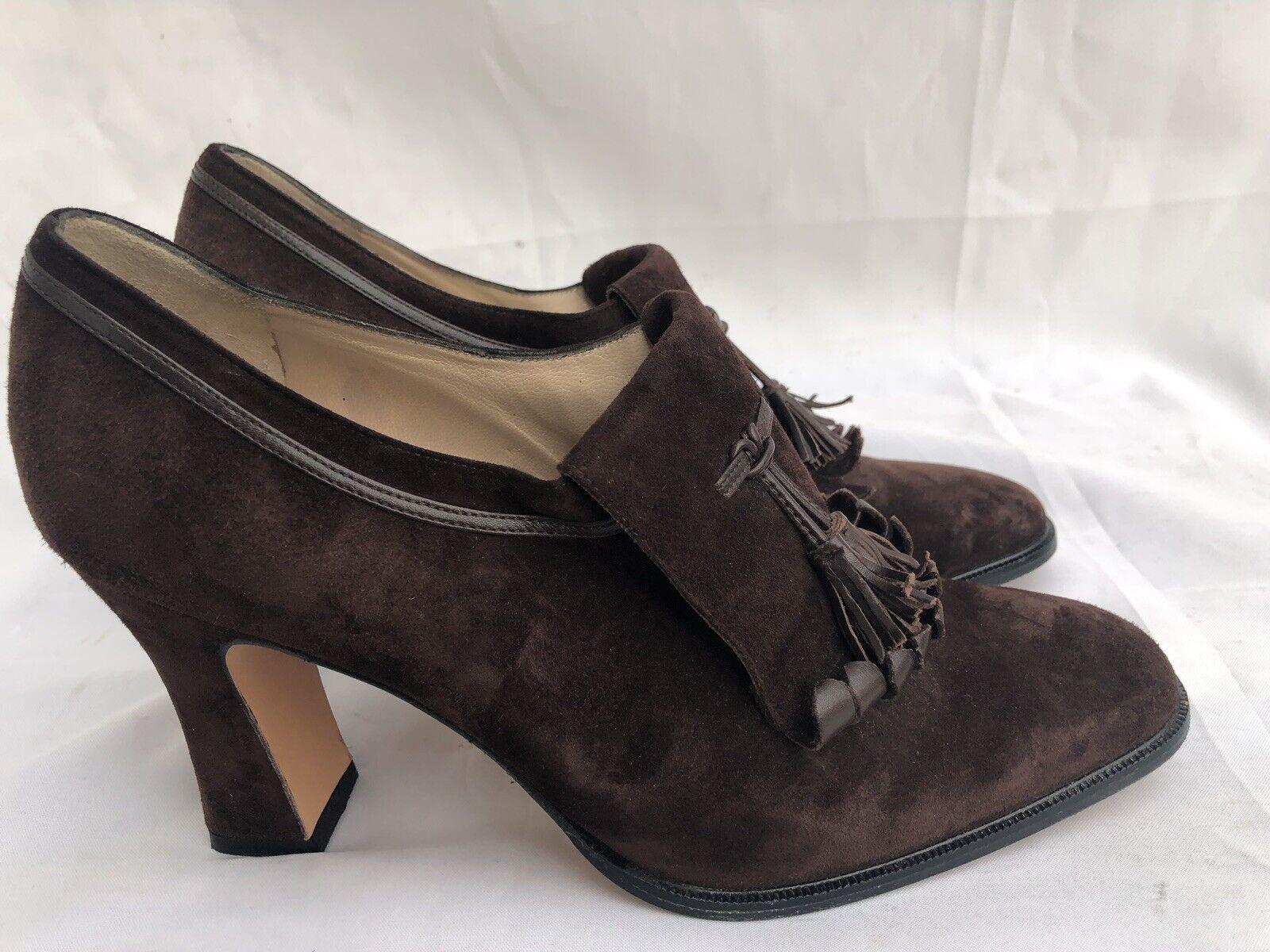 Salvatore Ferragamo Womans Suede W  Tossel Fridge Ankle Boots Louis Heel Brown 6
