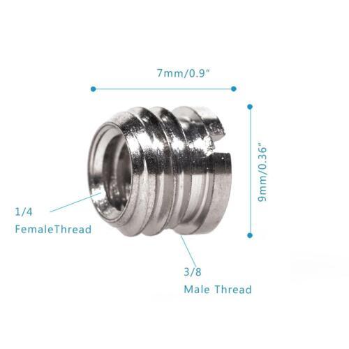 """Convertir Tornillo 1//4/"""" a 3//8/"""" Adaptador x2 rosca de montaje trípode de cámara Monopod UK"""